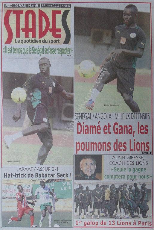 A la Une du Journal Stades du mardi 19 mars 2013