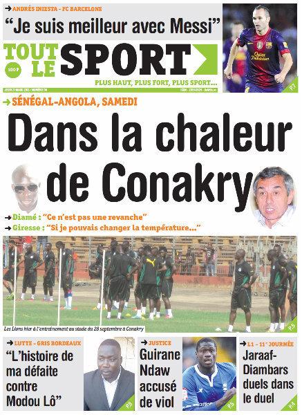 A la Une du Journal Tout Le Sport du jeudi 21 mars 2013