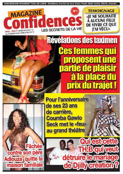 A la Une du Magazine Confidences du jeudi 21 mars 2013