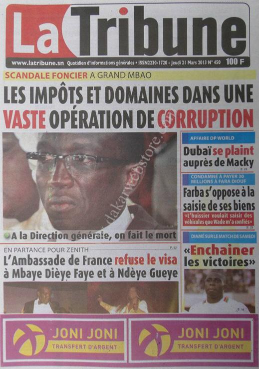 A la Une du Journal La Tribune du jeudi 21 mars 2013