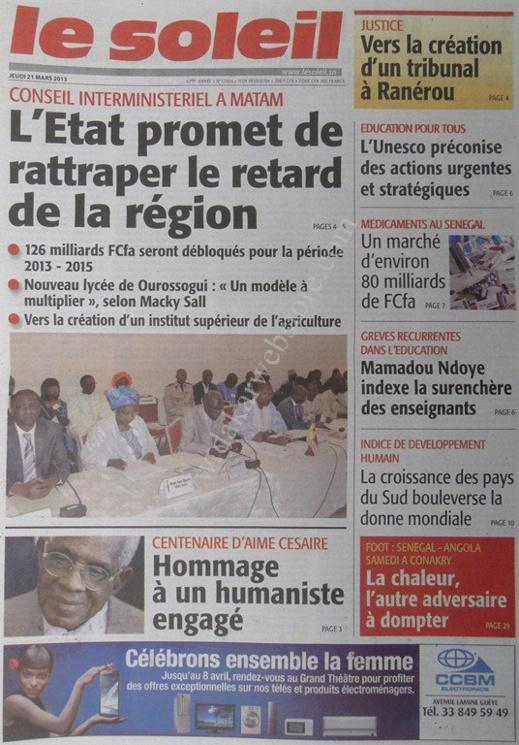 A la Une du Journal Le Soleil du jeudi 21 mars 2013