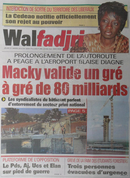 A la Une du Journal Walfadjri du jeudi 21 mars 2013