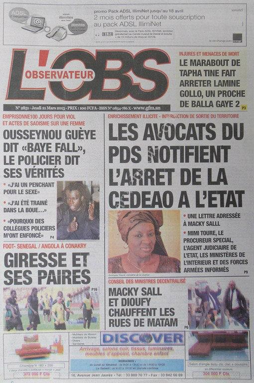 A la Une du Journal L'Observateur du jeudi 21 mars 2013