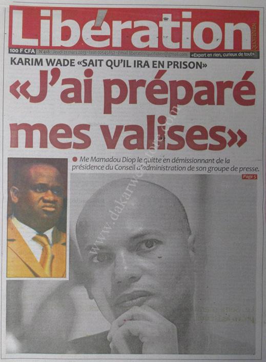 A la Une du Journal Libération du jeudi 21 mars 2013