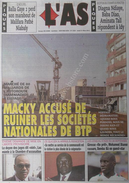 A la Une du Journal L'As du jeudi 21 mars 2013