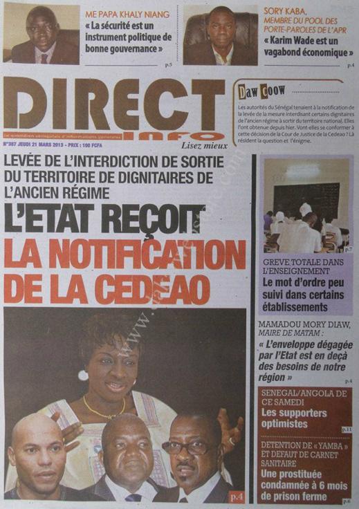 A la Une du Journal Direct info du jeudi 21 mars 2013