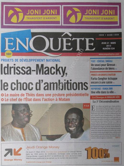 A la Une du Journal EnQuête du jeudi 21 mars 2013