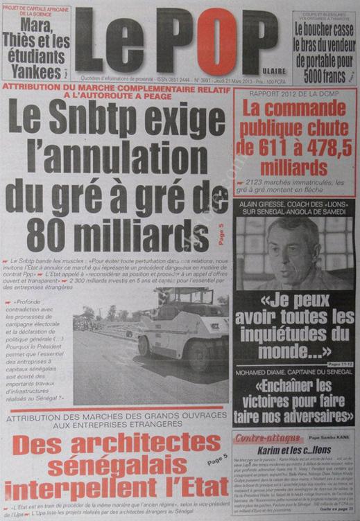 A la Une du Journal Le Populaire du jeudi 21 mars 2013