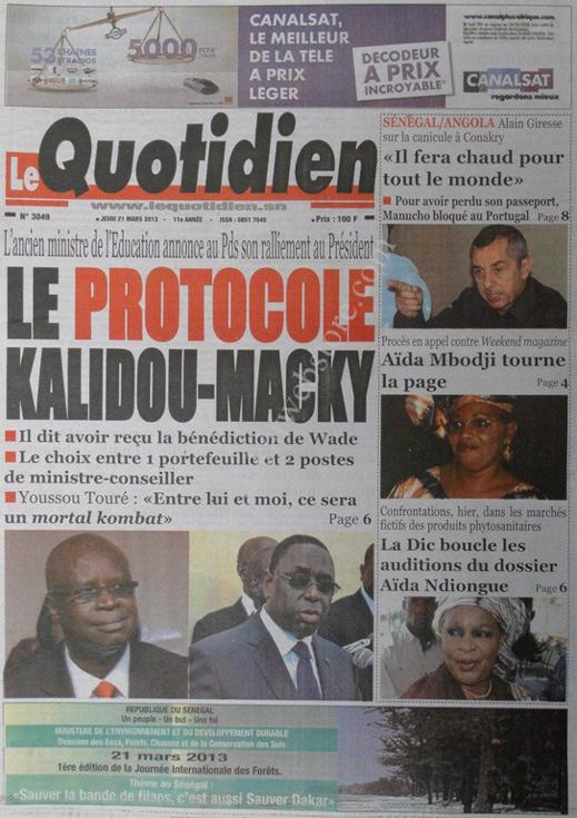 A la Une du Journal Le Quotidien du jeudi 21 mars 2013