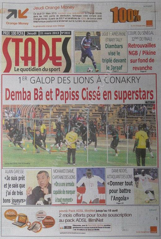 A la Une du Journal Stades du jeudi 21 mars 2013