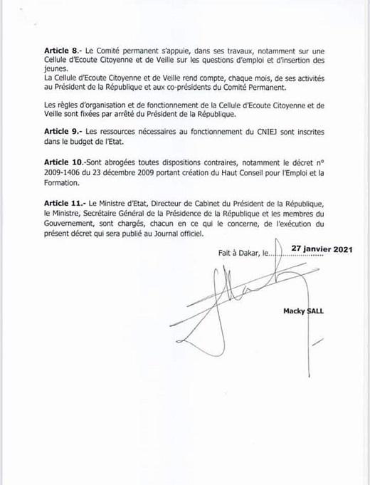Conseil National pour l'Insertion et l'Emploi des Jeunes ( CNIEJ) : le décret portant sa création et ses règles