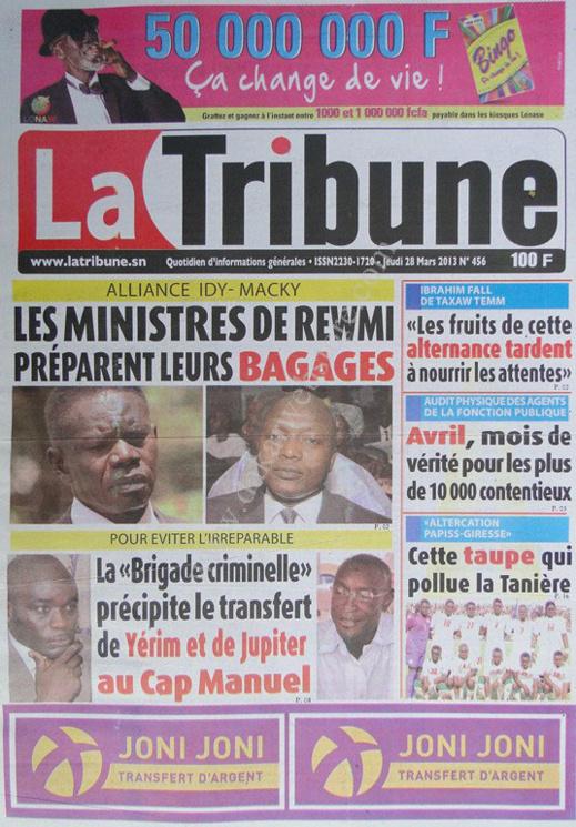 A la Une du Journal La Tribune du jeudi 28 mars 2013