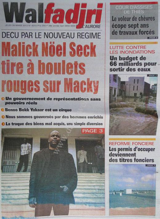 A la Une du Journal Walfadjri du jeudi 28 mars 2013