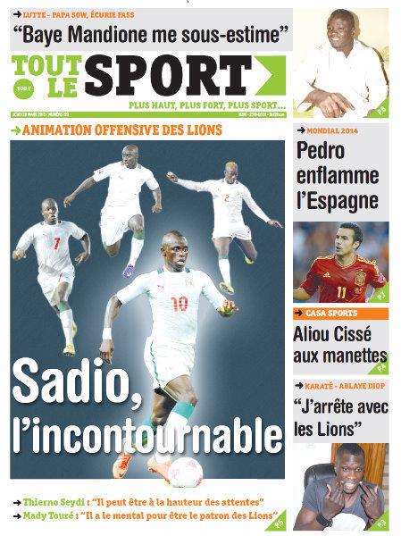 A la Une du Journal Tout Le Sport du jeudi 28 mars 2013