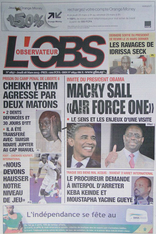 A la Une du Journal L'Observateur du jeudi 28 mars 2013