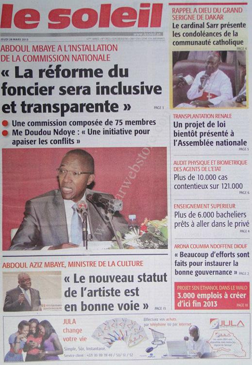 A la Une du Journal Le Soleil du jeudi 28 mars 2013