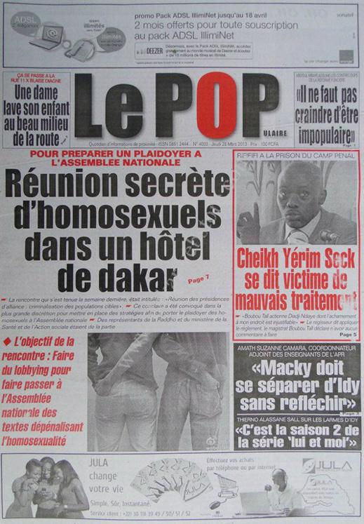 A la Une du Journal Le Populaire du jeudi 28 mars 2013