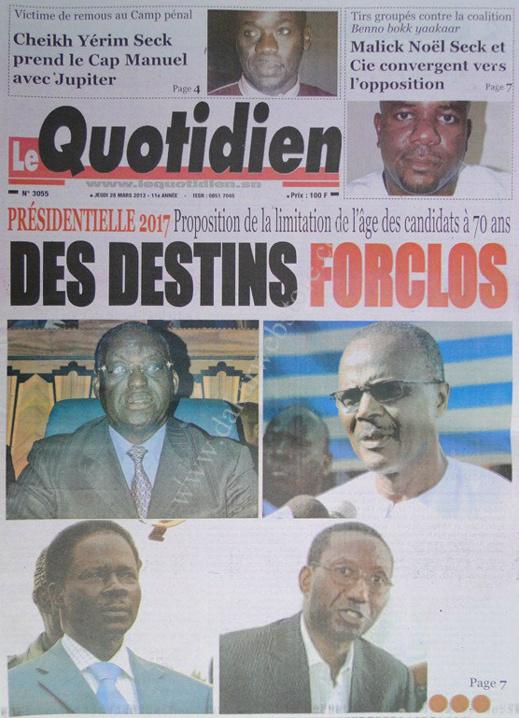 A la Une du Journal Le Quotidien du jeudi 28 mars 2013
