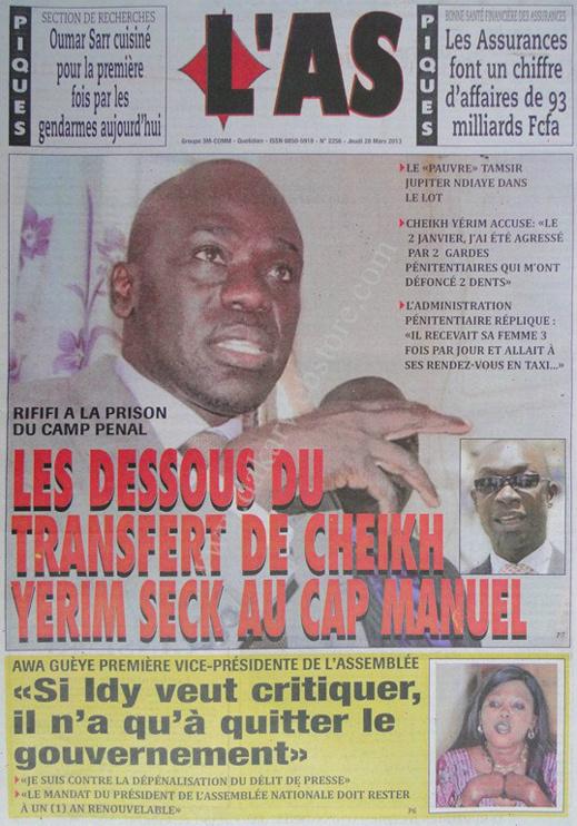 A la Une du Journal L'As du jeudi 28 mars 2013