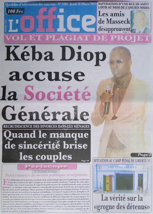 A la Une du Journal L'Office du jeudi 28 mars 2013