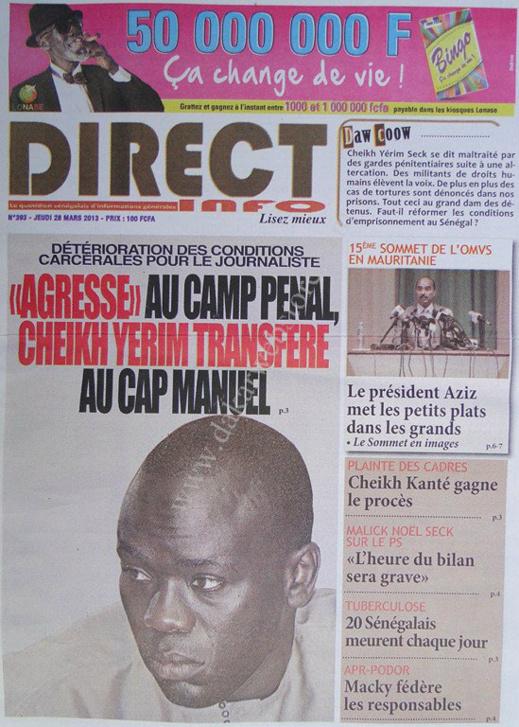 A la Une du Journal Direct Info du jeudi 28 mars 2013