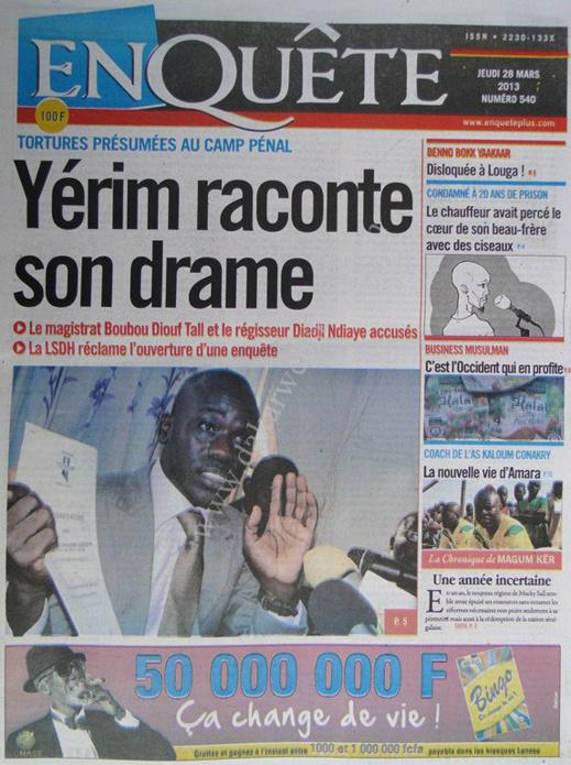 A la Une du Journal EnQuête du jeudi 28 mars 2013