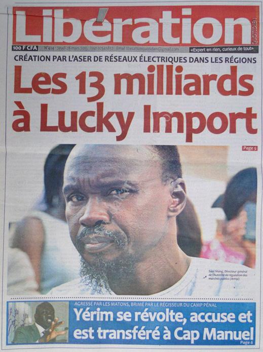 A la Une du Journal Libération du jeudi 28 mars 2013