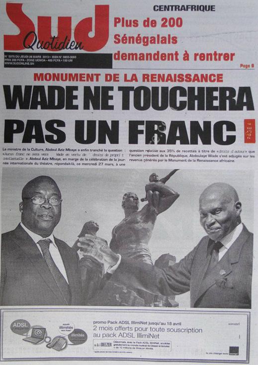 A la Une du Journal Sud Quotidien du jeudi 28 mars 2013