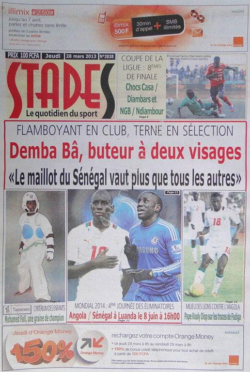 A la Une du Journal Stades du jeudi 28 mars 2013