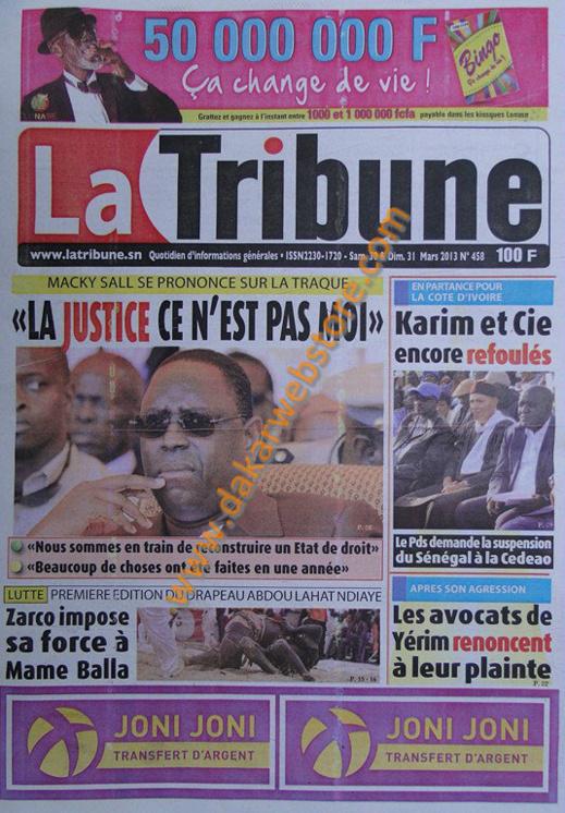 A la Une du journal La Tribune du Samedi 30 mars 2013