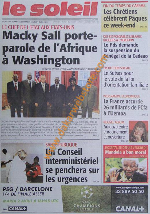 A la Une du journal Le Soleil du Samedi 30 mars 2013