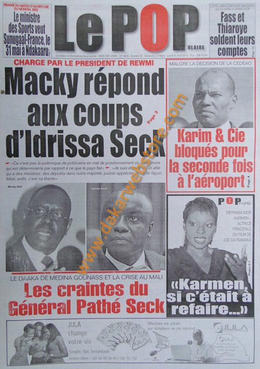 A la Une du journal Le Populaire du Samedi 30 mars 2013