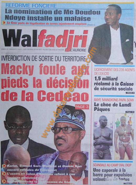 A la Une du journal Walfadjri du Samedi 30 mars 2013