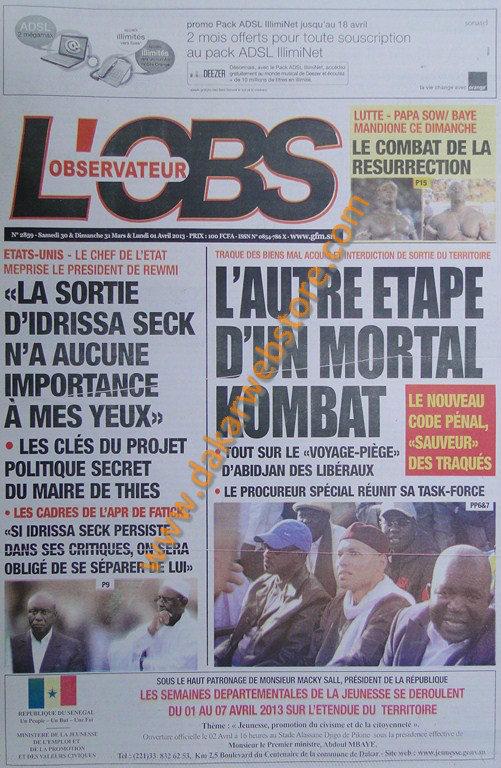 A la Une du journal L'Observateur du Samedi 30 mars 2013
