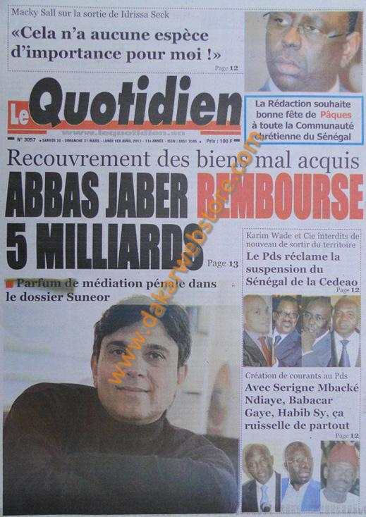 A la Une du journal Le Quotidien du Samedi 30 mars 2013