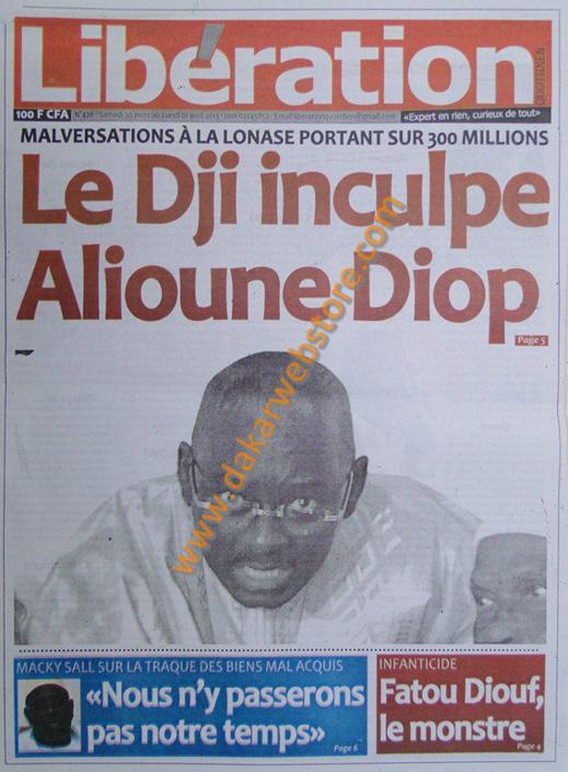 A la Une du journal Libération du Samedi 30 mars 2013