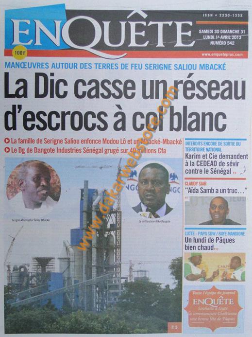 A la Une du journal EnQuête du Samedi 30 mars 2013