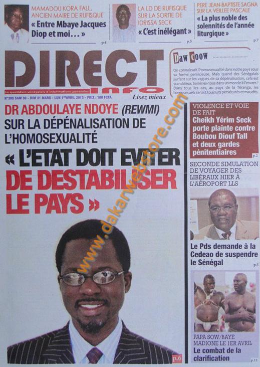A la Une du journal Direct Info du Samedi 30 mars 2013