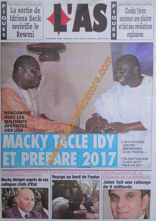 A la Une du journal L'As du Samedi 30 mars 2013