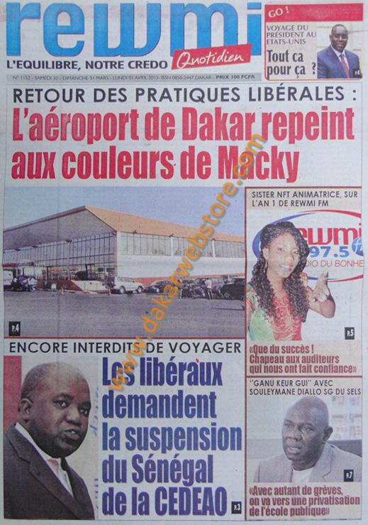 A la Une du journal Rewmi du Samedi 30 mars 2013