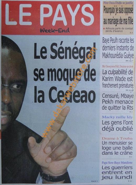 A la Une du journal Le Pays du Samedi 30 mars 2013