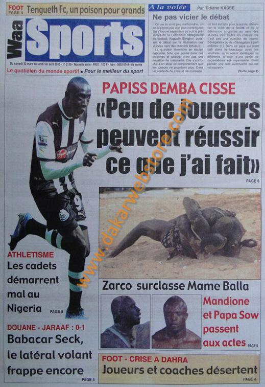 A la Une du journal Waa Sports du Samedi 30 mars 2013