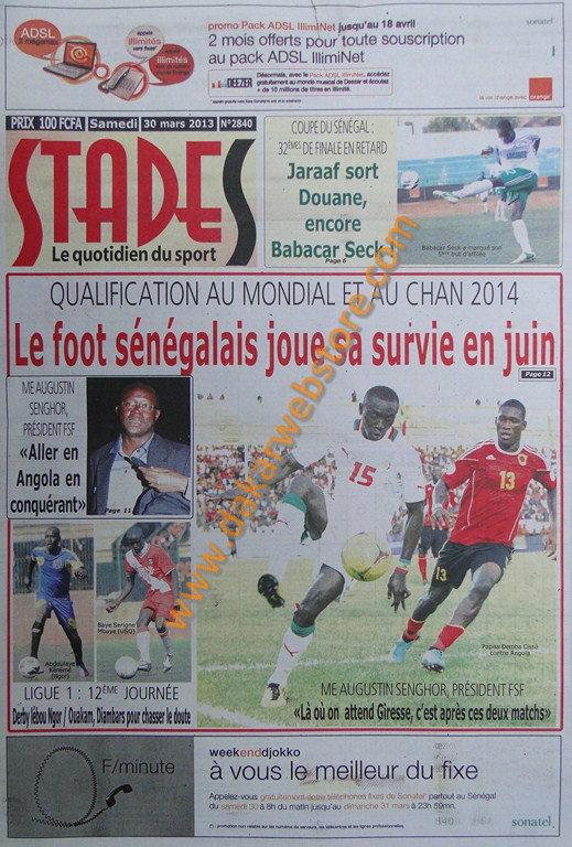 A la Une du journal Stades du Samedi 30 mars 2013