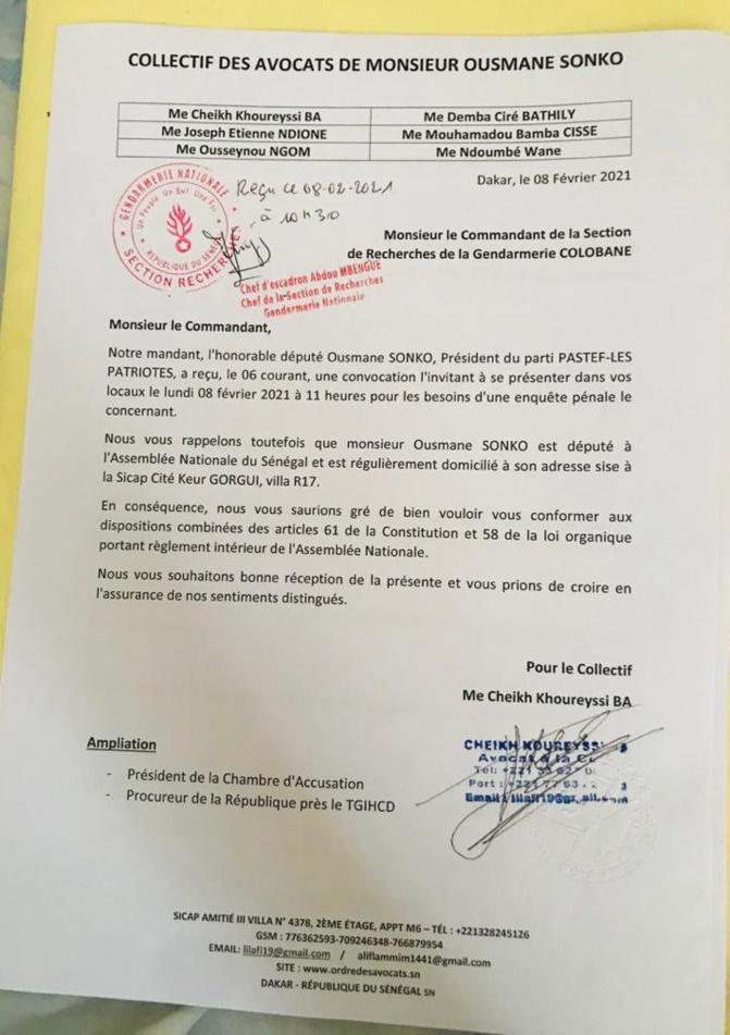 Affaire Sonko: La réponse de ses avocats à la Section des Recherche de la gendarmerie