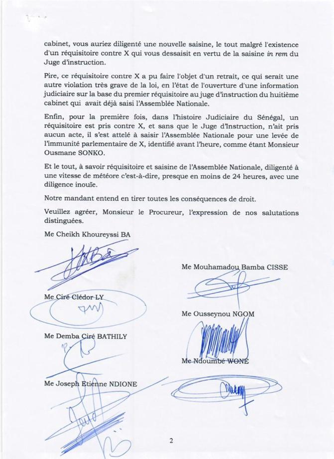 Lettre au Procureur: Les avocats d'Ousmane Sonko étalent les incongruités et vices de procédure (Document)