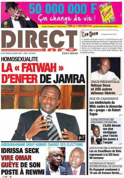 A la Une du Journal Direct Info du mardi 09 Avril 2013