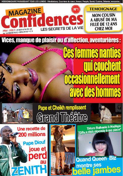 A la Une du Magazine Confidences du mardi 09 Avril 2013