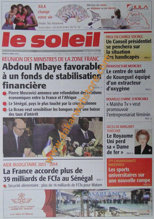 A la Une du Journal Le Soleil du mardi 09 Avril 2013
