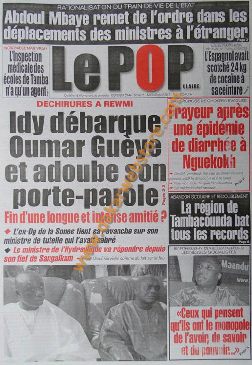 A la Une du Journal Poplulaire du mardi 09 Avril 2013