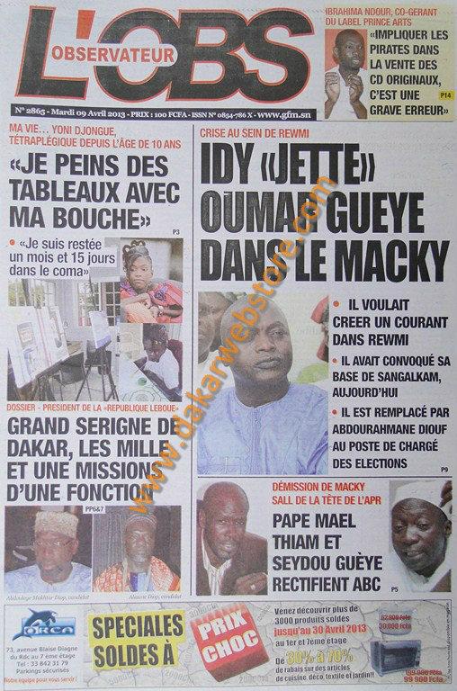 A la Une du Journal L'Observateur du mardi 09 Avril 2013